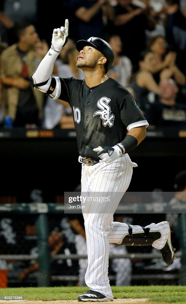 Yoan Moncada #10 of the Chicago White Sox reacts after hitting his first career home run, against the Chicago Cubs, during the seventh inning at Guaranteed Rate Field on July 26, 2017 in Chicago, Illinois.