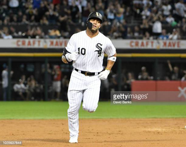 Yoan Moncada of the Chicago White Sox runs the bases after hitting a tworun home run against the Boston Red Sox during the first inning on August 31...