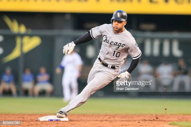 Yoan Moncada of the Chicago White Sox runs to third after hitting a RBI triple against the Kansas City Royals during the third inning at Kauffman...