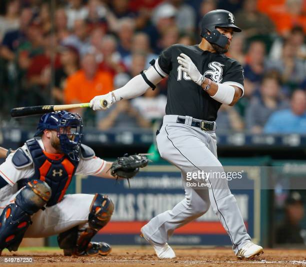 Yoan Moncada of the Chicago White Sox singles in the third inning against the Houston Astros at Minute Maid Park on September 19 2017 in Houston Texas