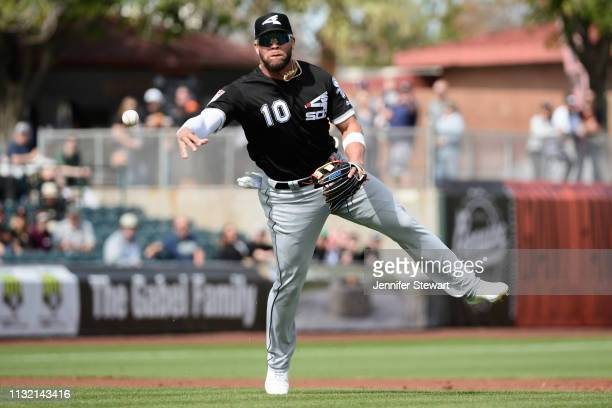 Yoan Moncada of the Chicago White Sox throws the ball to make an out against the San Francisco Giants during the spring game at Scottsdale Stadium on...