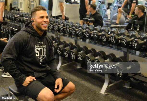 Yoan Moncada of the Chicago White Sox works out in the weight room during spring training on February 20 2018 at Camelback Ranch in Glendale Arizona