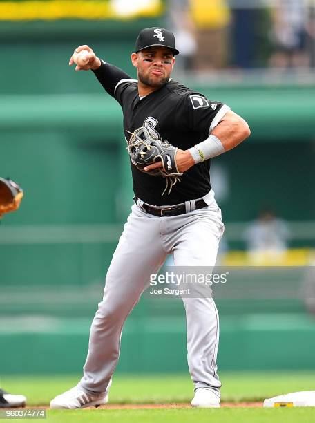 Yoan Moncada of the Chicago White Soxin action during interleague play against the Pittsburgh Pirates at PNC Park on May 16 2018 in Pittsburgh...