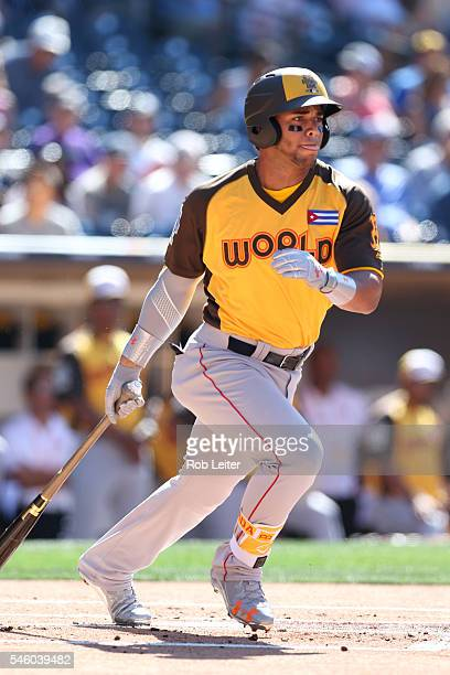 Yoan Moncada of the World Team bats against Team USA in the first inning during the SiriusXM AllStar Futures Game at Petco Park on Sunday July 10...