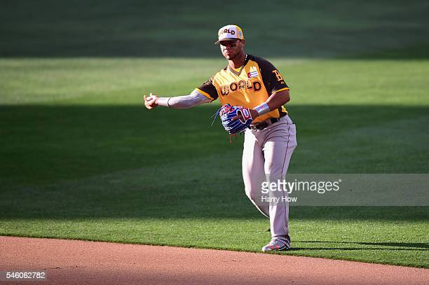 Yoan Moncada of the World Team throws during the SiriusXM AllStar Futures Game at PETCO Park on July 10 2016 in San Diego California
