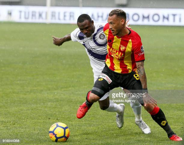 Yoan Patrick Gouffran of Goztepe in action against Aminu Umar of Osmanlispor during the Turkish Super Lig soccer match between Goztepe and...
