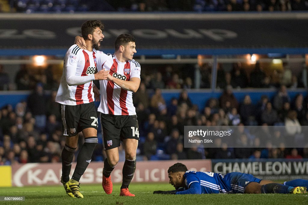 Yoann Barbet celebrates with John Egan of Brentford after he scores during the Sky Bet Championship match between Birmingham City and Brentford at St Andrews Stadium on January 2, 2017 in Birmingham, England (Photo by Nathan Stirk/Getty Images).
