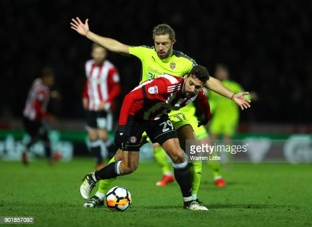 Yoann Barbet of Brentford and Alan Smith of Notts County during the The Emirates FA Cup Third Round match between Brentford and Notts Country at...