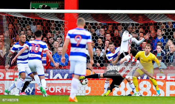 Yoann Barbet of Brentford scores the first goal during the Sky Bet Championship match between Brentford and QPR at Griffin Park on April 22 2017 in...