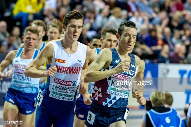 Yoann FRA and INGEBRIGTSEN Jakob NOR competing in the 3000m Men Final event during day TWO of the European Athletics Indoor Championships 2019 at...
