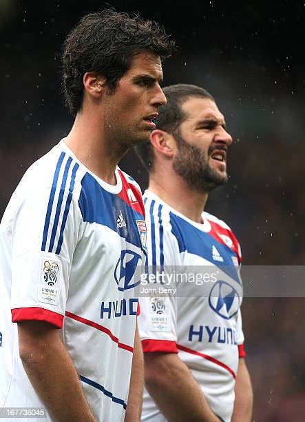 Yoann Gourcuff and Lisandro Lopez of Lyon in action during the Ligue 1 match between Olympique Lyonnais OL and AS SaintEtienne ASSE at the Stade...