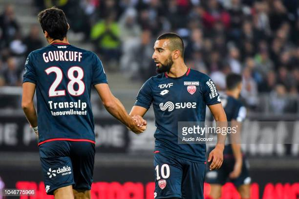 Yoann Gourcuff and Naim Sliti of Dijon during the Ligue 1 match between Amiens and Dijon at Stade de la Licorne on October 6 2018 in Amiens France