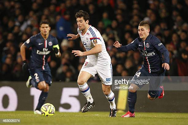 Yoann Gourcuff of Lyon and Marco Verratti of PSG in action during the French Ligue 1 match between Olympique Lyonnais and Paris SaintGermain FC at...