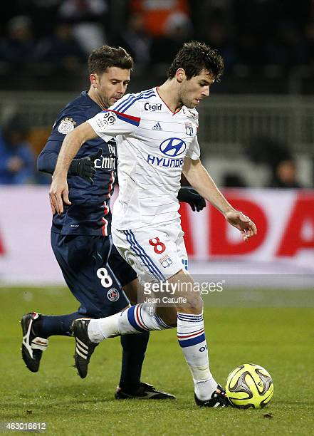 Yoann Gourcuff of Lyon and Thiago Motta of PSG in action during the French Ligue 1 match between Olympique Lyonnais and Paris SaintGermain FC at...
