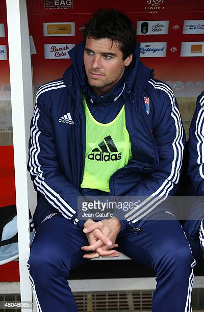Yoann Gourcuff of Lyon sits on the bench during the french Ligue 1 match between EA Guingamp FC and Olympique Lyonnais OL at Stade de Roudourou on...