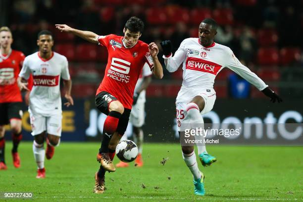 Yoann Gourcuff of Rennes and Giani Imbula of Toulouse during the League Cup match between Rennes and Toulouse on January 10 2018 in Rennes France