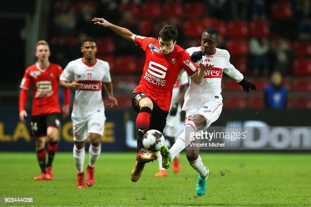 Yoann Gourcuff of Rennes and Gianni Imbula of Toulouse during the League Cup match between Rennes and Toulouse on January 10 2018 in Rennes France