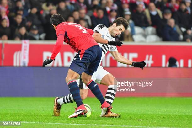 Yoann Gourcuff of Rennes and Junior Alonso of Lille during the Ligue 1 match between Lille OSC and Stade Rennais at Stade Pierre Mauroy on January 17...