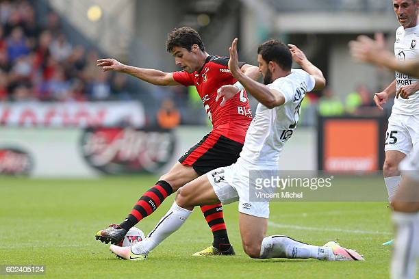 Yoann Gourcuff of Rennes and Syam Ben Youssef of Caen during the french Ligue 1 match between Stade Rennais and SM Caen at Stade de la Route de...