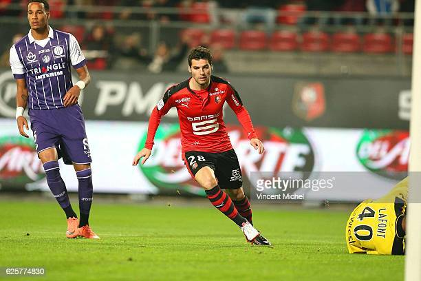 Yoann Gourcuff of Rennes celebrates after scoring the first goal during the French Ligue 1 match between Rennes and Toulouse at Roazhon Park on...