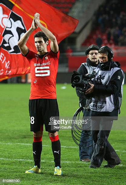 Yoann Gourcuff of Rennes celebrates the victory following the French Ligue 1 match between Stade Rennais FC and SCO Angers at Roazhon Park stadium on...