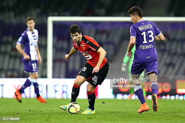 Yoann Gourcuff of Rennes during the French Ligue 1 Toulouse FC v Stade Rennais at Stadium Municipal on February 27 2016 in Toulouse France