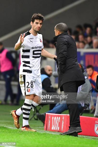 Yoann Gourcuff of Rennes is substituted by Rennes coach Sabri Lamouchi during the Ligue 1 match between Lille OSC and Stade Rennais at Stade Pierre...