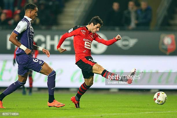 Yoann Gourcuff of Rennes scores the first goal during the French Ligue 1 match between Rennes and Toulouse at Roazhon Park on November 25, 2016 in...
