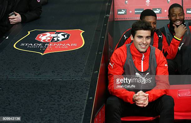 Yoann Gourcuff of Rennes seats on the bench during the French Ligue 1 match between Stade Rennais FC and SCO Angers at Roazhon Park stadium on...