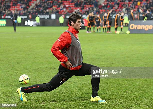 Yoann Gourcuff of Rennes warms up during the French Ligue 1 match between Stade Rennais FC and SCO Angers at Roazhon Park stadium on February 12 2016...