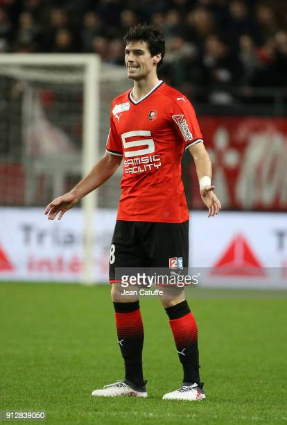 Yoann Gourcuff of Stade Rennais during the French League Cup match between Stade Rennais and Paris Saint Germain at Roazhon Park on January 30 2018...