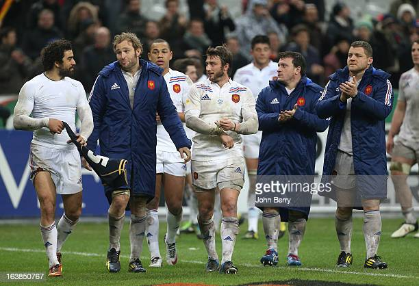 Yoann Huget Antonie Claassen Maxime Medard Thomas Domingo Benjamin Kayser of France celebrate the victory at the end of the RBS Six Nations match...