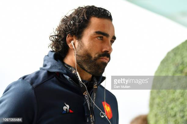 Yoann Huget of France arrives at the stadium prior to the Guinness Six Nations match between England and France at Twickenham Stadium on February 10...