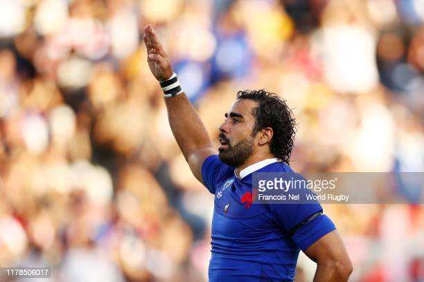 Yoann Huget of France celebrates scoring his side's first try during the Rugby World Cup 2019 Group C game between France and USA at Fukuoka...