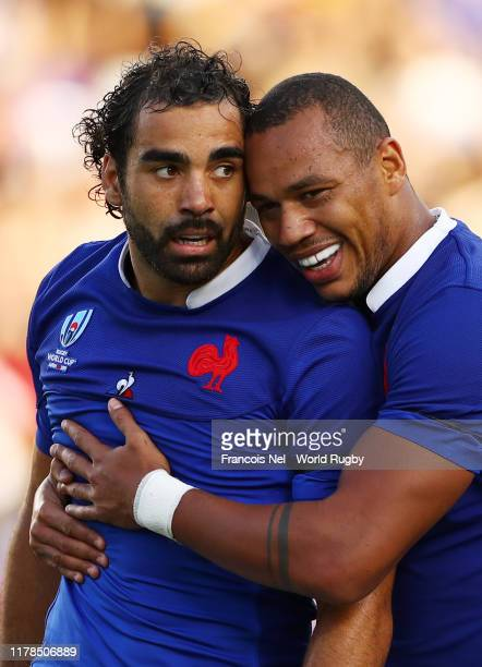 Yoann Huget of France celebrates scoring his side's first try with his team mate Gael Fickou during the Rugby World Cup 2019 Group C game between...