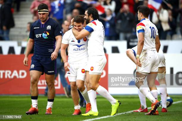 Yoann Huget of France celebrates scoring his team's second try during the Guinness Six Nations match between France and Scotland at Stade de France...