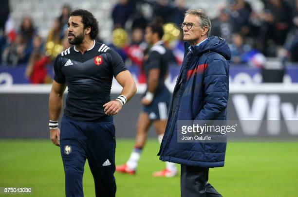 Yoann Huget of France coach of France Guy Noves before the autumn international rugby match between France and New Zealand at Stade de France on...