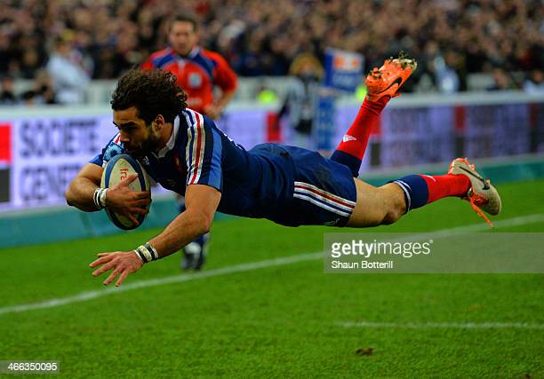 Yoann Huget of France goes over to score their second try during the RBS Six Nations match between France and England at Stade de France on February...