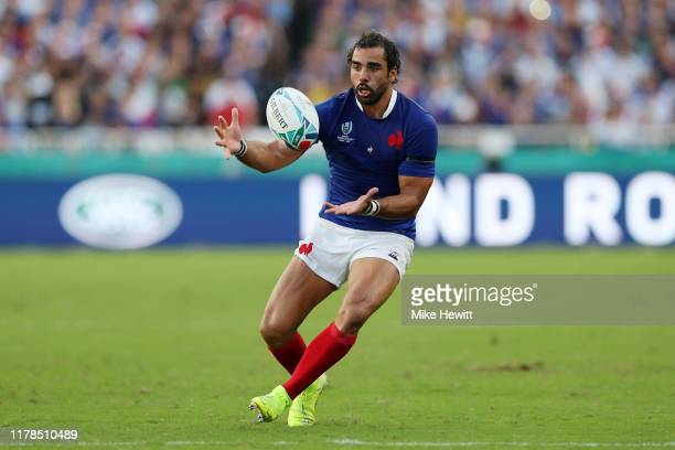 Yoann Huget of France in action during the Rugby World Cup 2019 Group C game between France and USA at Fukuoka Hakatanomori Stadium on October 02...