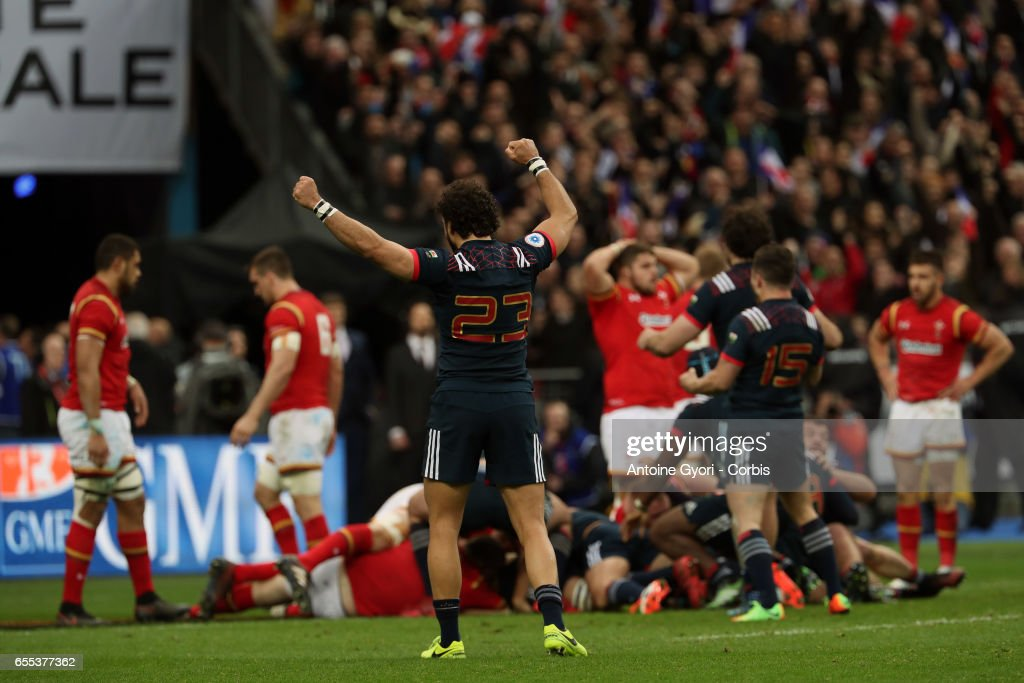 Yoann Huget of France reacts during the RBS Six Nations match between France and Wales at Stade de France on March 18, 2017 in Paris, France.