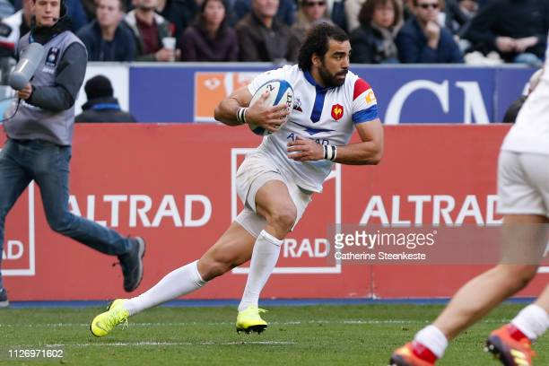 Yoann Huget of France runs with the ball during the Guinness Six Nations match between France and Scotland at Stade de France on February 23 2019 in...