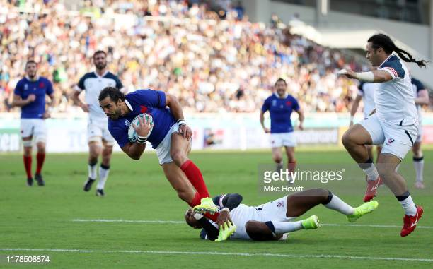Yoann Huget of France runs with the ball to score his side's first try during the Rugby World Cup 2019 Group C game between France and USA at Fukuoka...