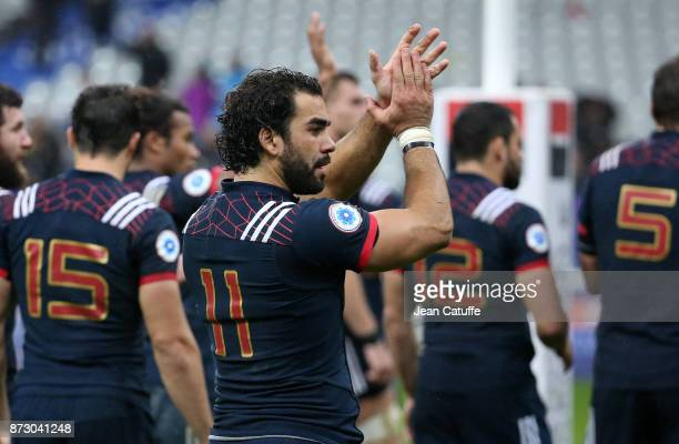 Yoann Huget of France salutes the fans following the autumn international rugby match between France and New Zealand at Stade de France on November...