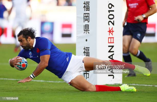 Yoann Huget of France scores his side's first try during the Rugby World Cup 2019 Group C game between France and USA at Fukuoka Hakatanomori Stadium...
