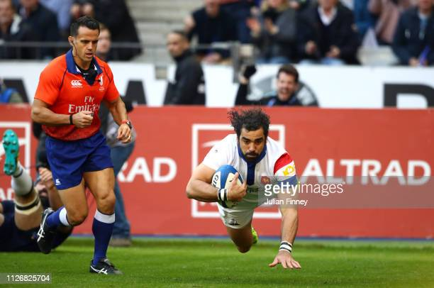 Yoann Huget of France scores his team's second try during the Guinness Six Nations match between France and Scotland at Stade de France Stadium on...