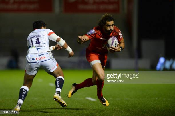 Yoann Huget of Toulouse in action during the European Rugby Challenge Cup match between Sale Sharks and Toulouse on October 13 2017 in Salford United...