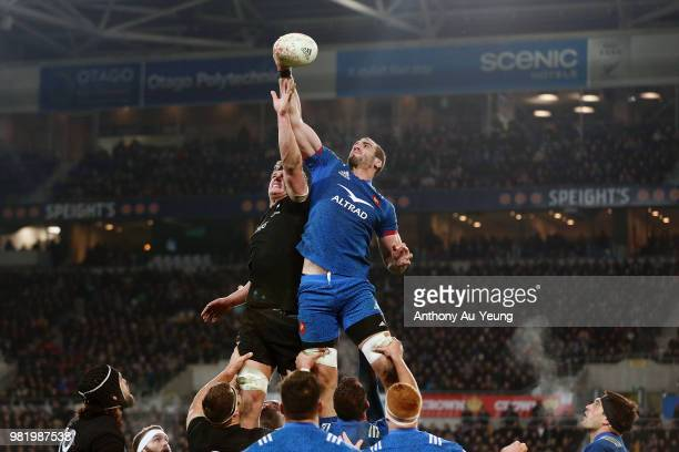 Yoann Maestri of France competes at the lineout against Scott Barrett of the All Blacks during the International Test match between the New Zealand...