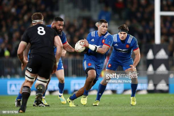 Yoann Maestri of France runs the ball during the International Test match between the New Zealand All Blacks and France at Forsyth Barr Stadium on...