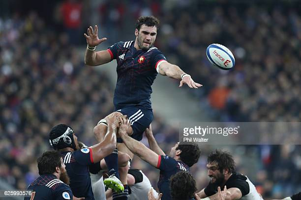 Yoann Maestri of France takes the ball in the lineout during the international rugby match between France and New Zealand at Stade de France on...