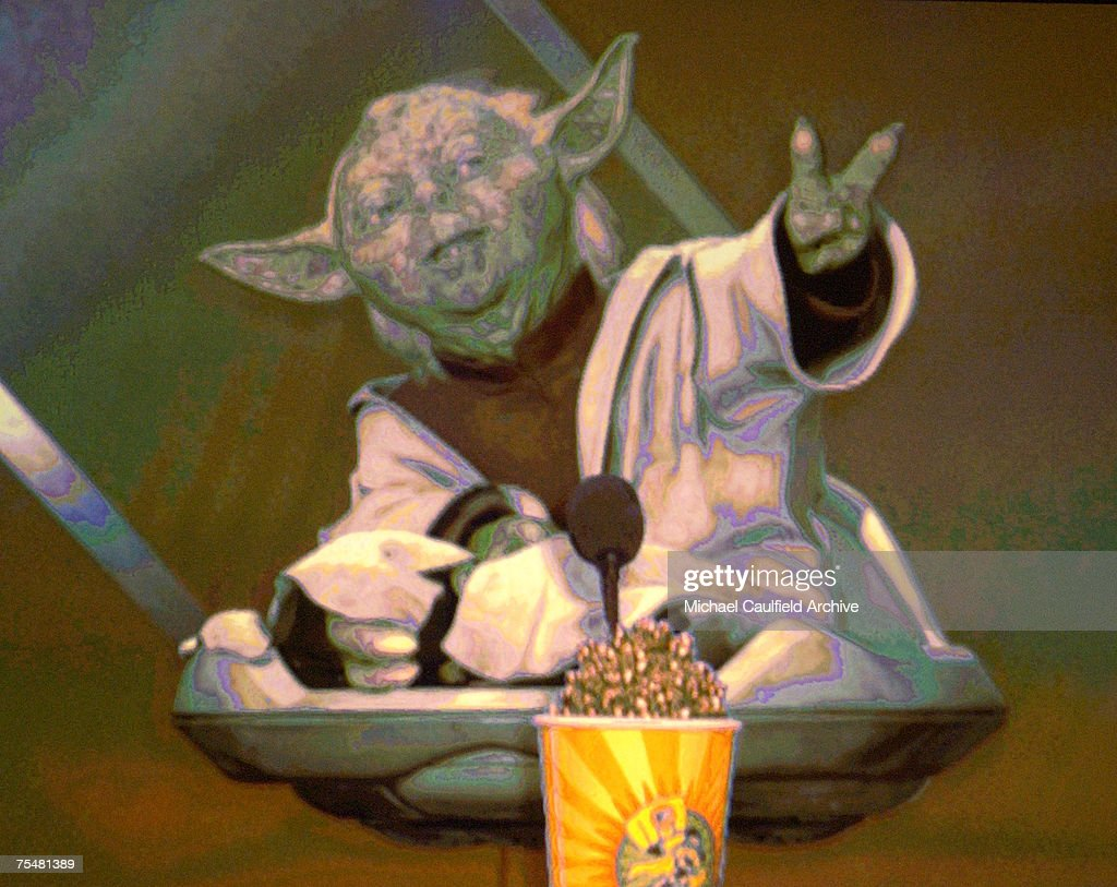 Yoda winner for Best Fight Award with Christopher Lee in the movie 'Star Wars-Episode II-The Attack of the Clones' during 2003 MTV Movie Awards - Show at the The Shrine Auditorium in Los Angeles, California.